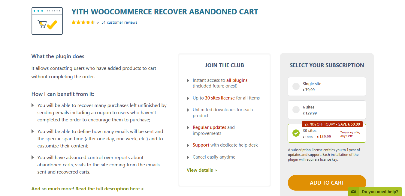 YITH WooCommerce Recover Abandoned cart 2.0.0